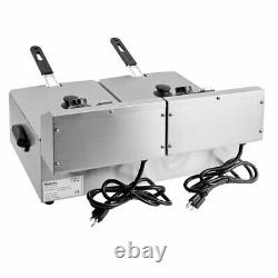 20 Lb Dual Tank Electric Countertop Fryer Stainless Steel 110 Volts 3300 Watts