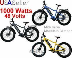 48V Ebike Electric Bike Bicycle Fat Tire Mid Drive Malibu 1000 Watt Hill Climber