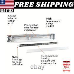 96 in. 2,000/2,500-Watt 240-Volt Electric Cordless Baseboard Heater in White NEW