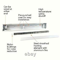 96 inch 2,000-Watt 240/208-Volt Electric Baseboard Heater White Convection Heat