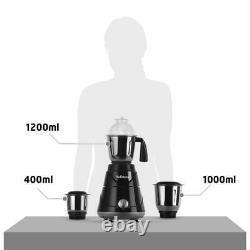 Black Mixer Grinder/Blender With 3 Steel Jars & Multi Speed Nob, 550-Watt/230Volt