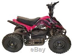 CRAZY QUADS 1000 Watt Electric Children's 36 Volt ATV Quad Bike Pink & Black