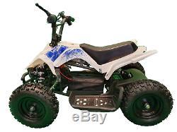 CRAZY QUADS 1000 Watt Electric Children's 36 Volt ATV Quad Bike White & Blue