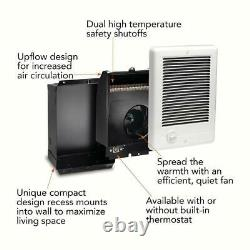Compact In-Wall Electric Heater Fan-Forced 120-Volt 1,000-Watt with Thermostat
