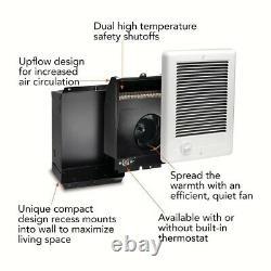 Electric Heater 1,000-Watt 120-Volt Fan-Forced In-Wall Dial Controls in White