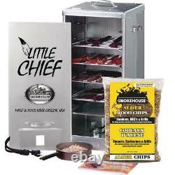 Electric Smoker Front Load 120-Volt 450-Watt Heating Meat Fish Embossed Aluminum