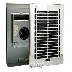 Electric Wall Heater Bathroom In-Wall Fan-Forced 1000-Watt 120-Volt Chrome