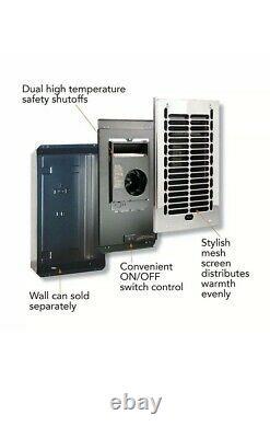 Electric Wall Heater Bathroom In-Wall Fan-Forced 1000-Watt 120-Volt Chrome W1