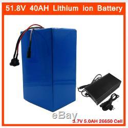 Lithium Battery 40AH 52V Volt Rechargeable Bicycle E Bike Electric Li-ion Watt